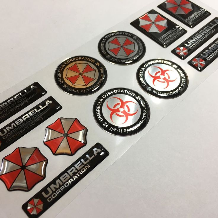 UMBRELLA CORPORATION. Domed with flexible 3D Gel (Polyurethane Resin). Flexible Domed Decal. With adhesive. Printed on a automotive grade vinyl. Printed on chrome vinyl. This set contain total 13 domed emblems. | eBay!