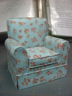 Make and upholster 1:12 scale chair or sofa(piping optional) with instructions for style variations - see Chris P.'s work here http://chrispycrittersminis.blogspot.com/2013/05/i-made-couch.html