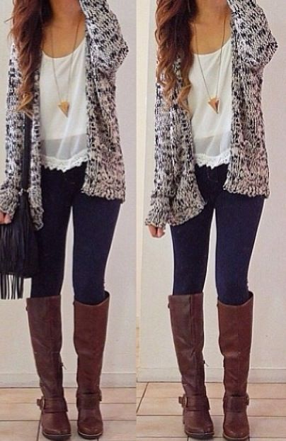 Knit cardigan + white crop top + sheer white over shirt + pyramid neck-less + skinny jeans + riding boots + messanger bag