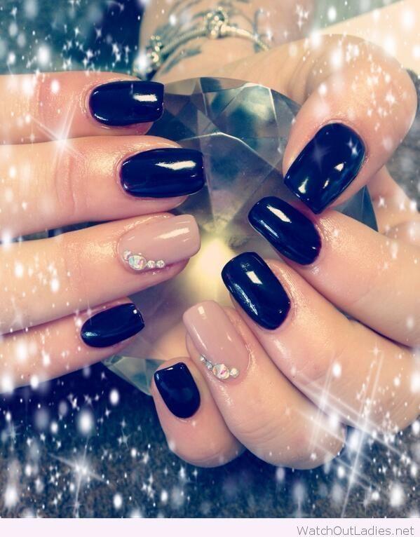 Black and nude Christmas nail art