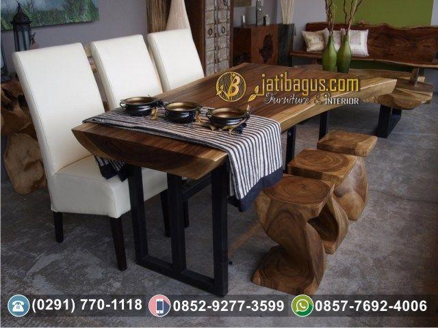 Set Meja Makan Trembesi Modern Kaki Besi Suar Solid Wood