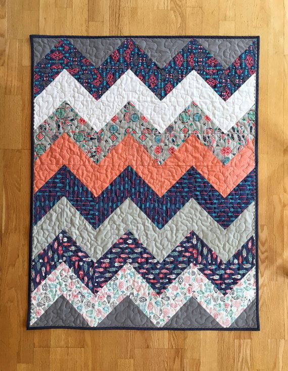 Tribal Baby Quilt Gender Neutral Baby Quilt by LittleTreeSwing