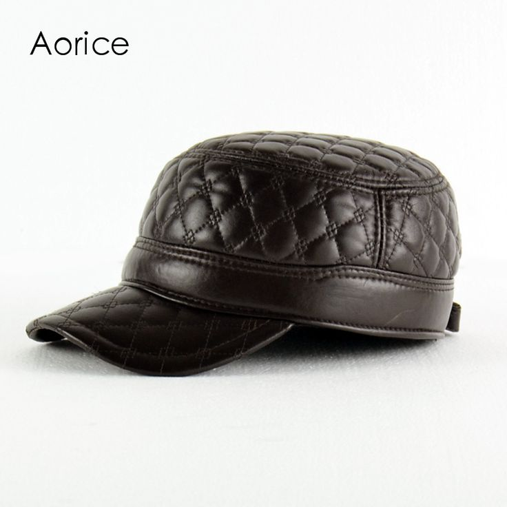 HL084-B  genuine leather men baseball cap hat CBD high quality  men's real sheep leather adult solid army hats caps
