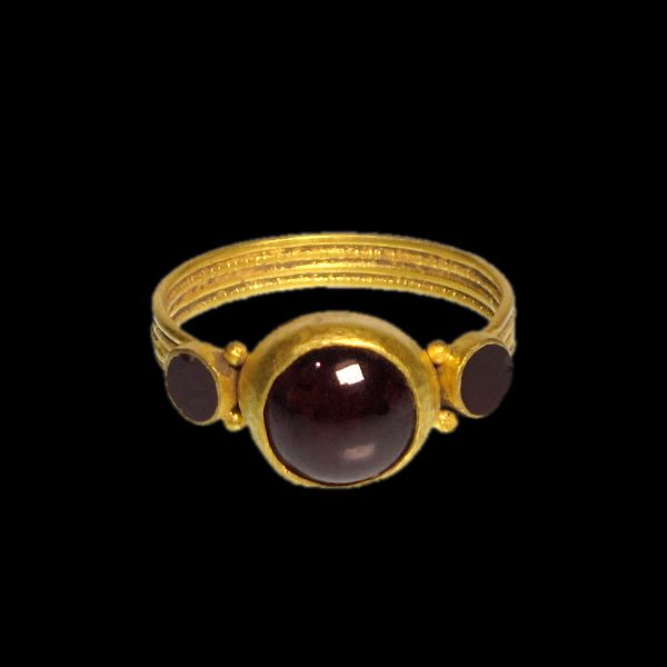 Merovingian Gold Ring with Garnets, c. 5th - 7th Century A.D.