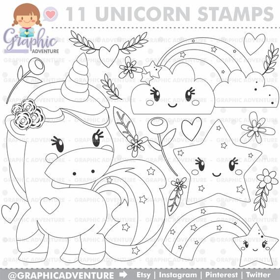 Unicorn Stamp Commercial Use Digi Stamp Digital Image Etsy Unicorn Coloring Pages Digi Stamp Coloring Pages