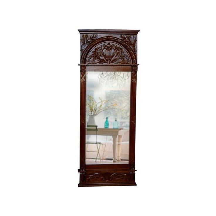 Espejo alto de vestidor tallado sobre madera de caoba maciza