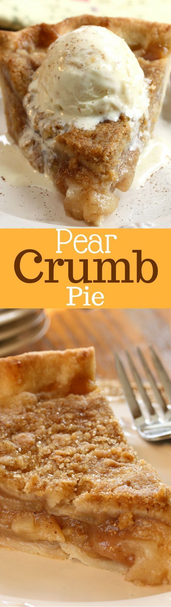 Pear Crumb Pie - juicy pears topped with a sweet crumb mixture wrapped in a flaky crust - fall fruit at it's best!  http://www.savingdessert.com
