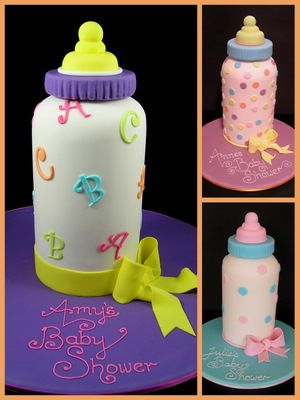 Baby bottle cake... whoever has a baby next you are so getting this cake! (if i'm for some reason planning your shower anyways lol)