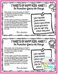 7 Habits of Happy Kids flyers free printable from the fabulous Jessica Winston | The Teaching Oasis.