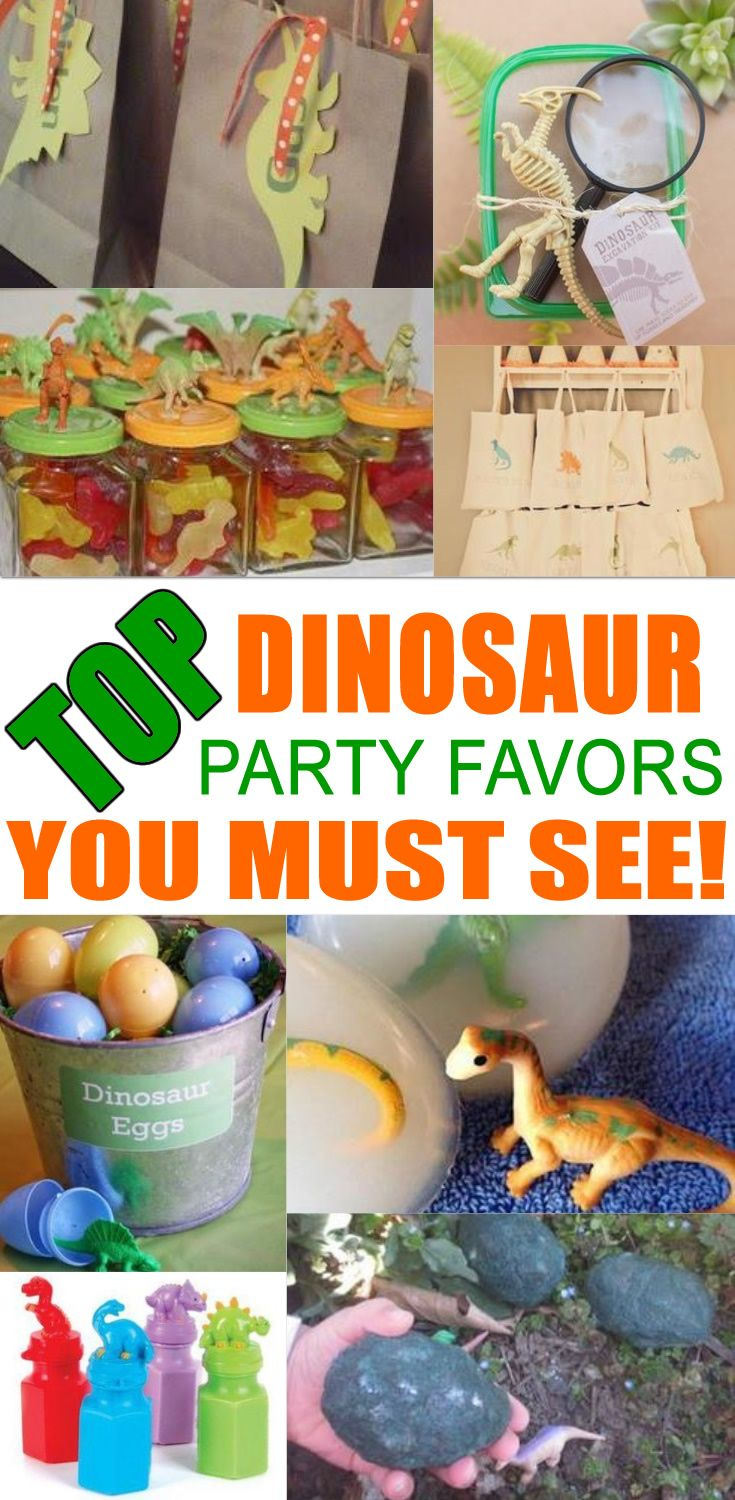 BEST dinosaur party favors! Amazing dinosaur party favor ideas you must see! Find dinosaur party favors for kids birthday parties & more. Get fun gift bag ideas, dinosaur treat ideas, easy goodie bags, cheap diy ideas and more. Cool party favors for kids, children, teens, tweens, & adults.  Boys and girls will love these dinosaur birthday party favor ideas! Find the best dinosaur favors now!
