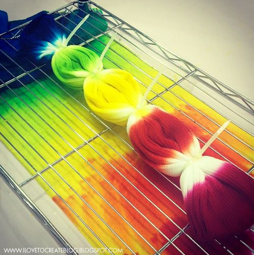 How to make Tie Dye Rainbow Socks, How fun! I can make them non-slip, too! ;-)