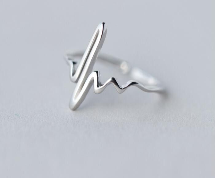 925 Sterling Silver Heart Beat Rings for Adjustable Rings SYJZ035