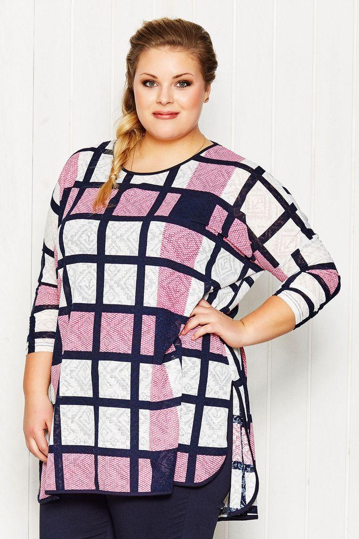 Super seje Super flot tunika med ternet mønster i rosa, blå og hvid Gozzip Modetøj til Damer i fantastisk kvalitet