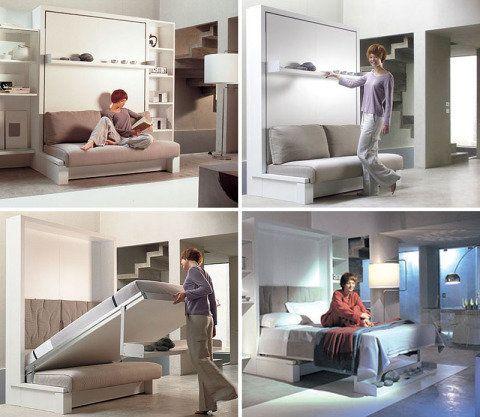Cama 'escondida'  na parede... ideia legal para um escritório em casa, que pode servir para acomodar as visitas!