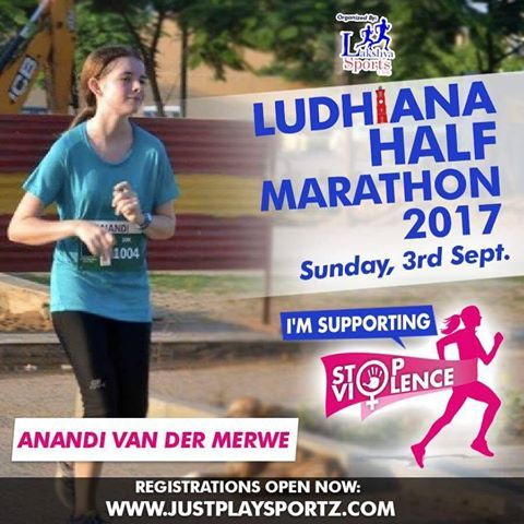 It is time  for action  to end violence against women   Run with Anandi in Ludhiana Half Marathon 2017 and commit to fighting Gender Inequality and Discrimination which are the main root causes of violence against women.  1st Place - Gurgaon Half Marathon 6th Edition 10km  Shimla running and living 8th Edition  6km  Tuffman Shimla 2017 20km  & Freezing earth day  run 2017.  She was also 2nd in the Joyathon 2016, Run for charity 2017, and placed first overall in GP sourcing 2017 run