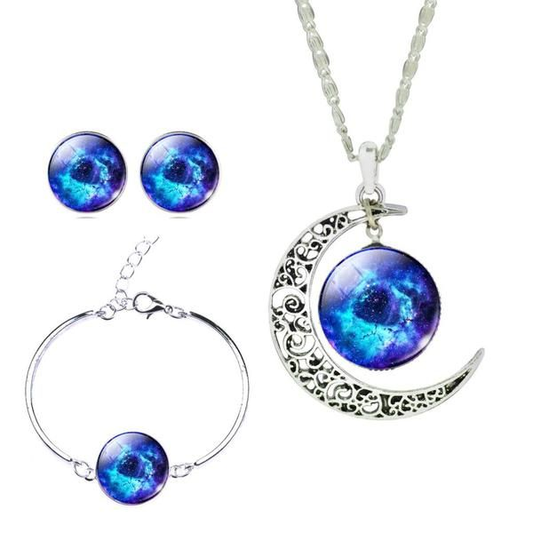 Silver Moon Galaxy Pendant Necklace Earrings Bracelet Tree Of Life Set - *** Special Offer ***