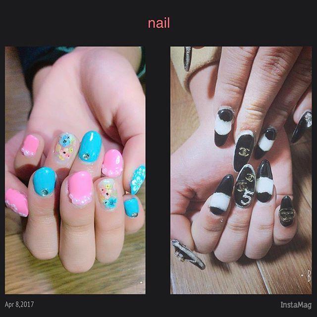 一昨日れいらとはーちゃんのネイルした💅💎✨ 2人のてネイルしてるときにおもった。 ばりしんどい😂ネイリストなんて絶対なられへんわ〜。神経つかう😧 #gelnail#gel#nail#self#SELFIE#Sculptris#CHANEL#Chanel#flower#color#pastelcolor#cute#fashion#pink#blue#black#white#monotone#ジェルネイル#スカルプネイル#ハードジェル#シャネル風#フラワー#パステルカラー#ロングネイル#自爪ネイル#セルフネイル