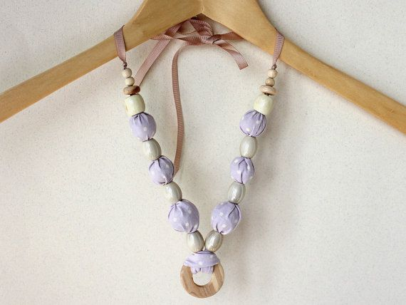 Lilac Necklace with Cream Polka Dot / by LovekaHandmade on Etsy, $25.00