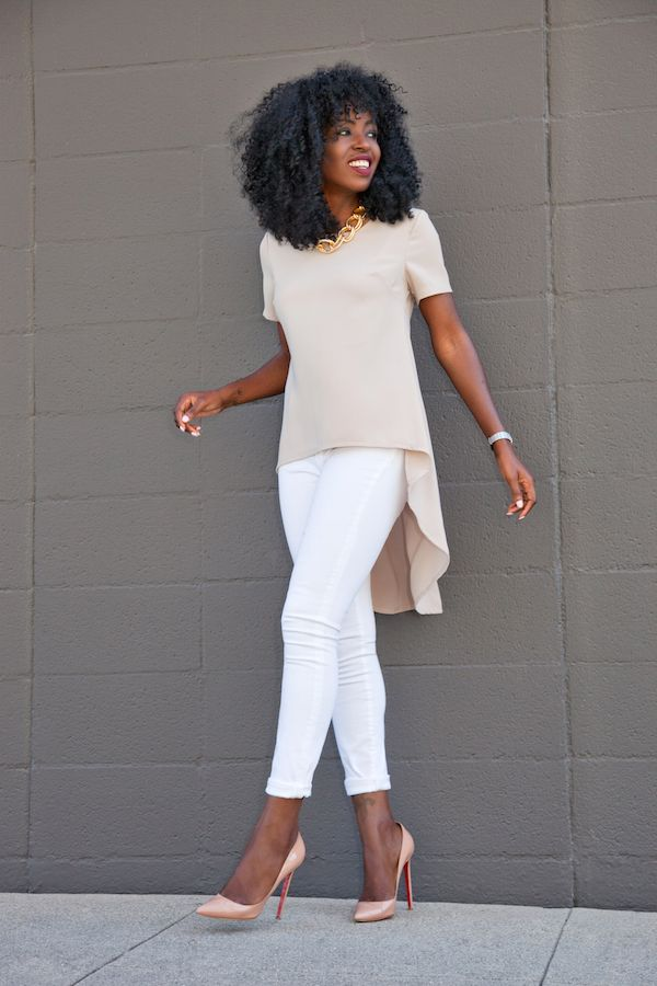 White Jeans / Nude Pumps