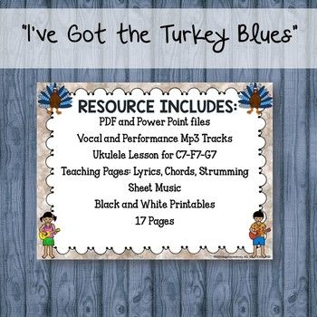 101 best guitar songs lessons and teaching tips for elementary thanksgiving song ive got the turkey blues for guitar and musical program stopboris Gallery