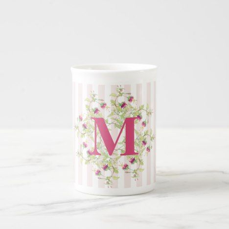 Pink Boho Floral Monogram Bone China Mug #coffee #mug #mugs #muglove #coffeetime #coffeemug #gifts #style #tea
