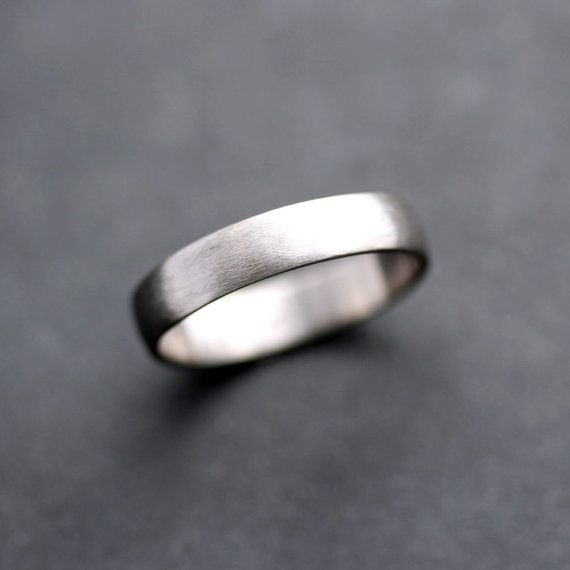Men's Wedding Band, 4.5mm Low Dome 14k Recycled Hand Carved Palladium White Gold Wedding Ring