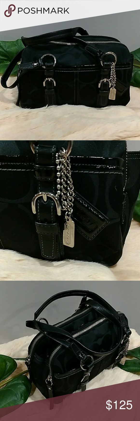 AUTHENTIC COACH SOHO SATCHEL BLACK THIS IS AN AUTHENTIC COACH SOHO SATCHEL, NEAR LIKE NEW CONDITION. GREAT YKK QUALITY ZIPPERS, ZOE'S RUN ON TRACK SMOOTHLY. GREAT QUALITY STITCHING. COACH LOGOS SURROUNDING OUTER SHELL. HAS COACH LABEL INSIDE. NO ISSUES NO STAINS NO SCUFFS NO SNAGS INSIDE LOOKS GREAT... REALLY VERY MINIMAL SIGNS OF WEAR. Coach Bags Satchels