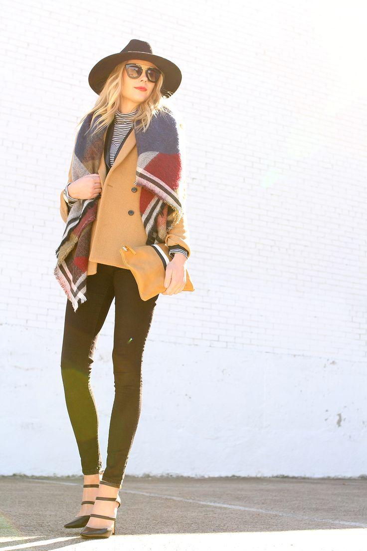 Fashion Jackson // Colorblock Blanket Scarf, Camel Blazer, Black Hat // Fall Outfit