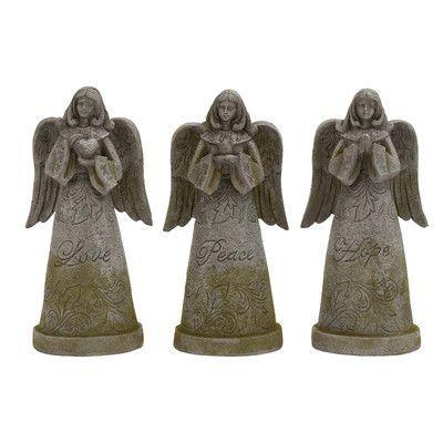 Cole & Grey 3 Piece Polystone Garden Angel Statue Set