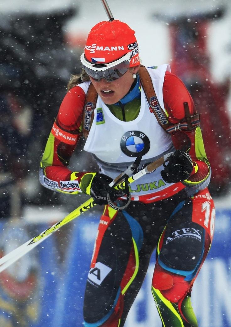VÍTĚZNÁ JÍZDA. Gabriela Soukalová vyhrála sprint Světového poháru ve slovinské Pokljuce.