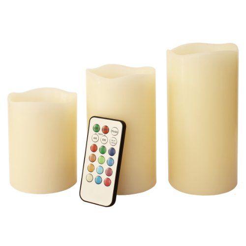 Frostfire Mooncandles - 6014 - Velas decorativas con luz (olor a vainilla, con mando, 3 unidades de 10, 13 y 15 cm) 16€