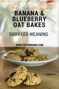 Banana and blueberry oat bakes recipe. Perfect for baby led weaning! Oat biscuits with a hint of cinnamon to add flavour.