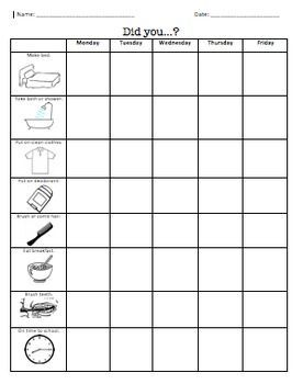 """FREE.  Morning Life Skills checklist.  My life skills students use this checklist to ensure that they've completed each step of a morning/hygiene routine before coming to school in the morning. Product contains paired pictures and words for each step of the routine. Students write """"yes"""", put a +, or stamp to indicate they've completed each step of the routine for each day of the week.  Download at:  https://www.teacherspayteachers.com/Product/Morning-Hygiene-Checklist-Life-Skills-449895"""