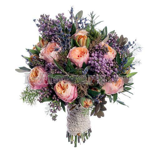 Свадебный букет невесты из садовой розы, сирени, тюльпана, лаванды - Букеты невесты - Свадебные букеты