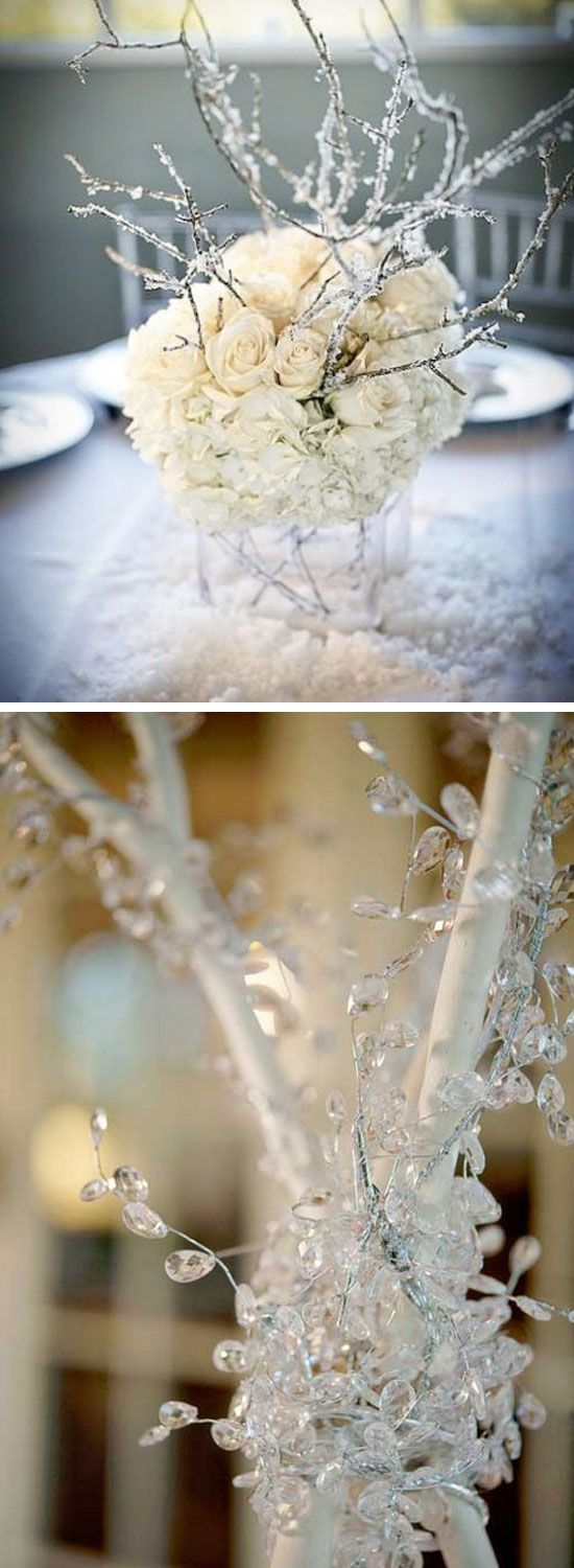 Winter Branch Table Centerpiece | Click Pic for 22 DIY Winter Wedding Ideas…