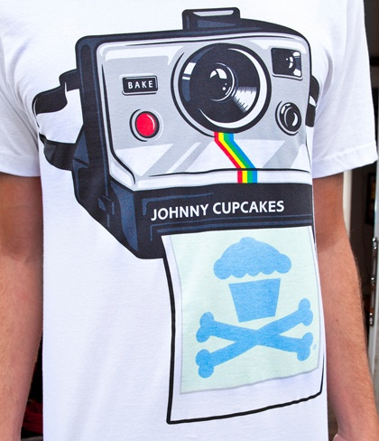 Amazing Johnny Cupcakes T-shirt! the logo on the polaroid 'develops' with sunlight!  OMG THIS SHIRT