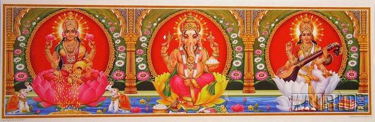 Indische Gottheiten Langbahnposter Lakshmi, Ganesha und Saraswati - KaiRhoCorp.de der Shop für Wanddekorationen, Kunst und Geschenke