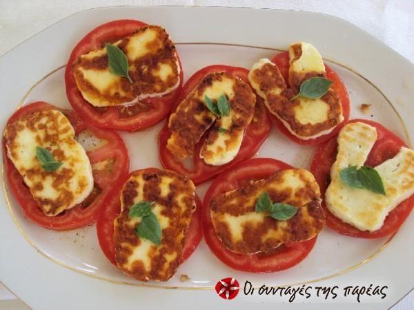 Ορεκτικό ντομάτα με χαλούμι #sintagespareas #ntomata #orektiko #haloumi