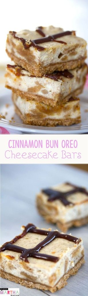 Cinnamon Bun Oreo Cheesecake Bars -- An Oreo cookie crust and cookie-filled cheesecake filling combine for a delicious dessert bar | wearenotmartha.com