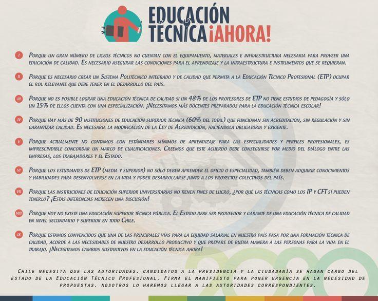 Manifiesto por la #EducaciónTécnica. Si estás de acuerdo, firma aquí: http://www.educaciontecnicaahora.cl/#firma-el-manifiesto