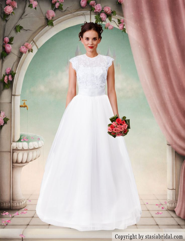 Modest wedding dress with sleeves. Custom wedding gown. Sleeves and neckline can be adjusted- available in plus size. Chicago designer -Stasia Modest Couture