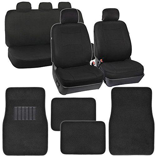 PolyCloth Car Seat Covers Black Classic Fit Carpet Floor Mats For Auto