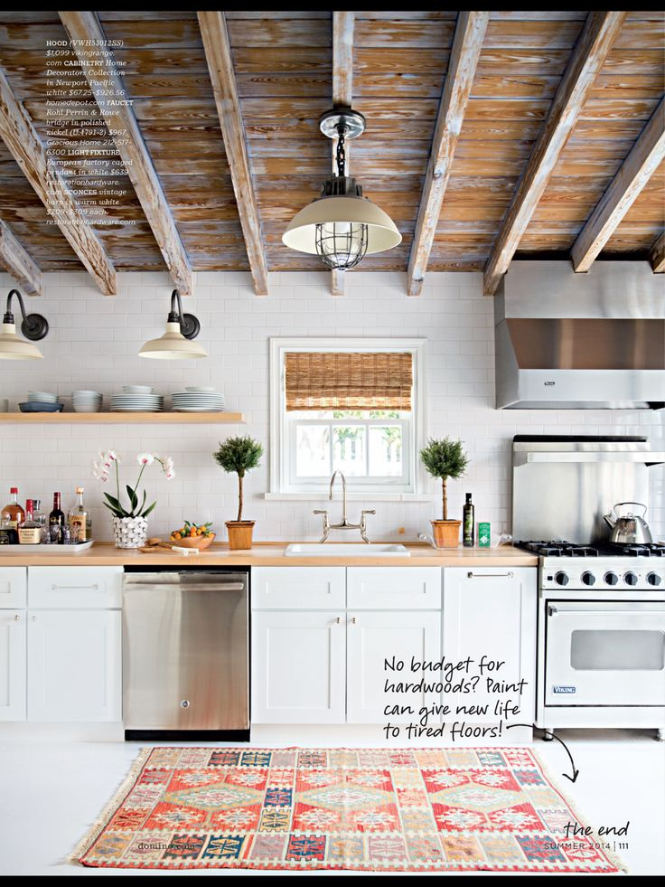 Spectacular Two Bedroom Beach Cottage Makeover Cute Cottage Kitchen Love  Ceiling Beams Color Scheme