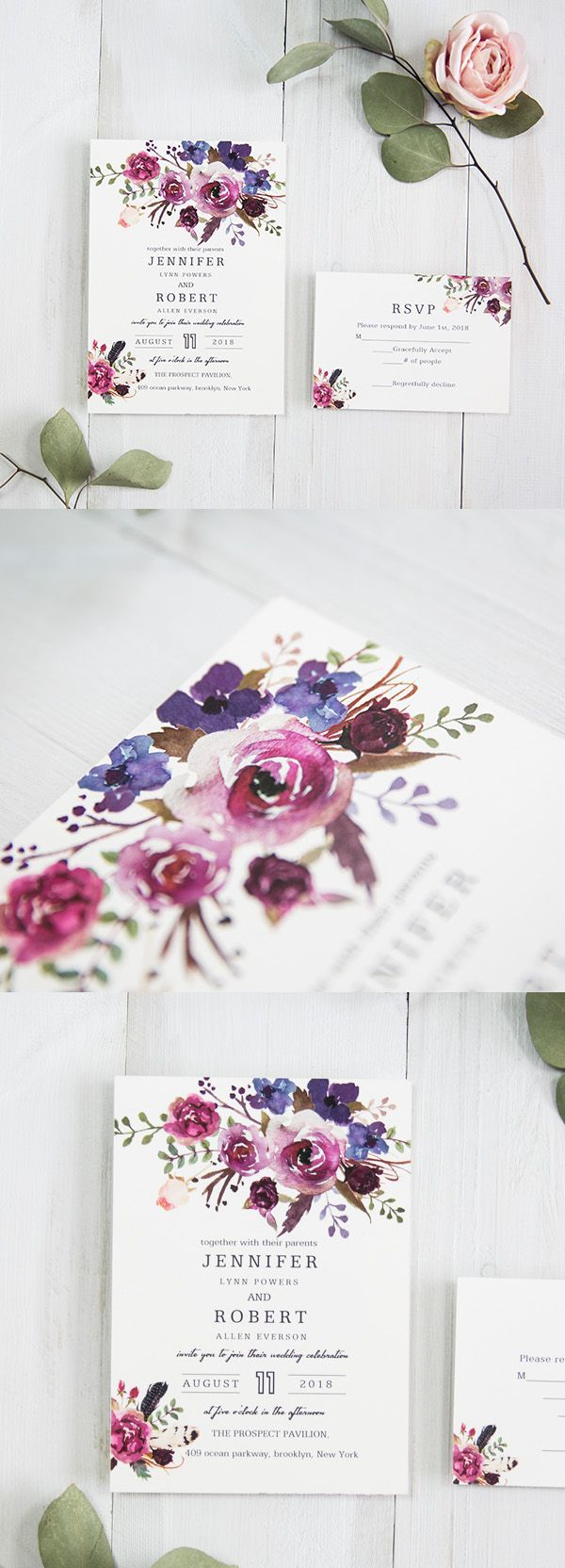 spring pink and purple shades watercolor wedding invitations