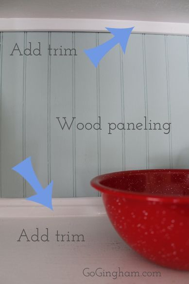 Cheap backslash idea with wood paneling and trim. A sweet look to refresh a kitchen backsplash.