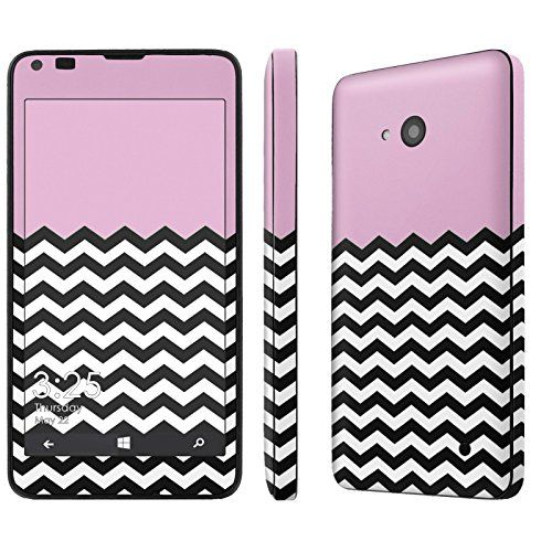 """Buy [T-Mobile / AT&T / MetroPCS ONLY] Microsoft Nokia Lumia 640 [LTE] [5"""" Screen] Skin [NakedShield] Scratch Guard Vinyl Skin Decal [Full Body Edge] [Matching WallPaper] - [Pink Chevron] NEW for 9.98 USD 