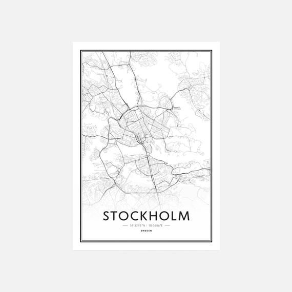 Stockholm Map Print Stockholm Map Art Stockholm Map Poster City