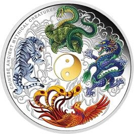 2014 #Chinese #Ancient #Mythical Creatures 5oz #Silver #Coin. According to ancient Chinese mythology, the universe was divided into four quadrants marking the beginning and end of the winter and summer solstices, and the autumn and spring equinoxes.