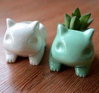 Kawaii Pokemon Bulbasaur Plantador Vaso de Cerâmica Bonito Branco/Verde Plantas Suculentas Vaso de Flores Com Buraco Bonito Dropshipping