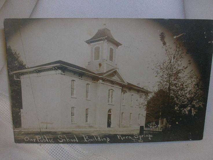 Vintage 1911 Nora Springs, Ia. Postcard RPPC Ellis Photo School Building